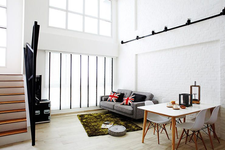 8 loft-style spaces in HDB flat homes | Brick feature wall, Bricks ...