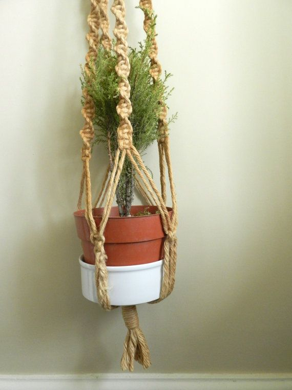 Flower pot holder hanging planter rope by for Decorative hanging pots