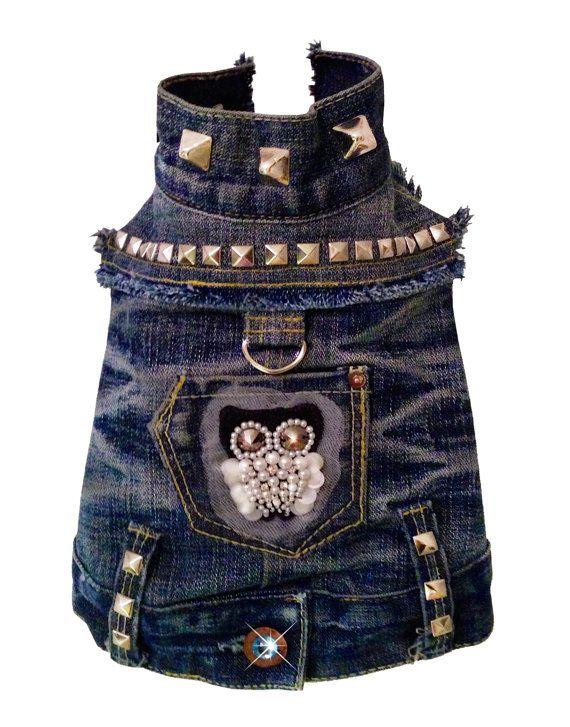 b8969060e4 NIGHT OWL Recycled Studded Denim Jacket by OrostaniCouture on Etsy ...
