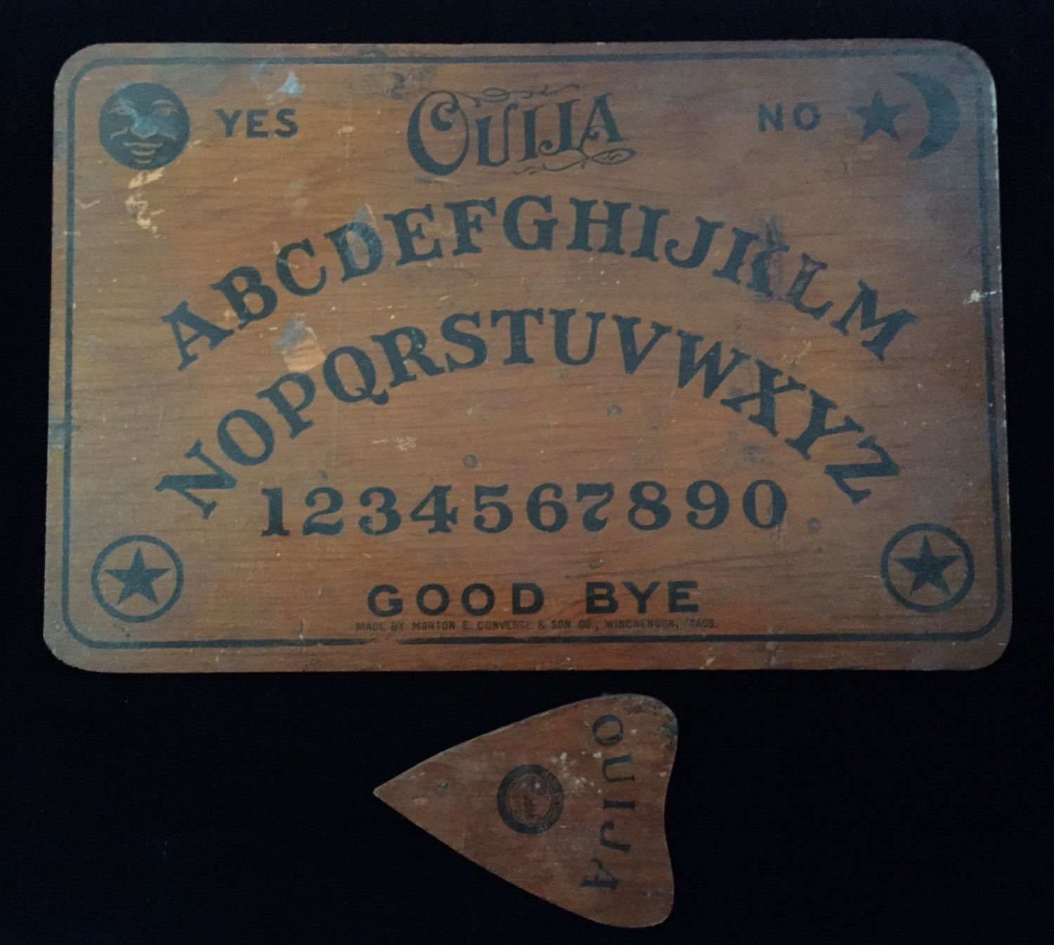 Antique Wood Ouija Board With Original Planchette Curiosities