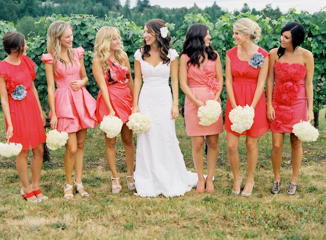 love her dress!!! also think the bm dresses are cute :) #LuxBride