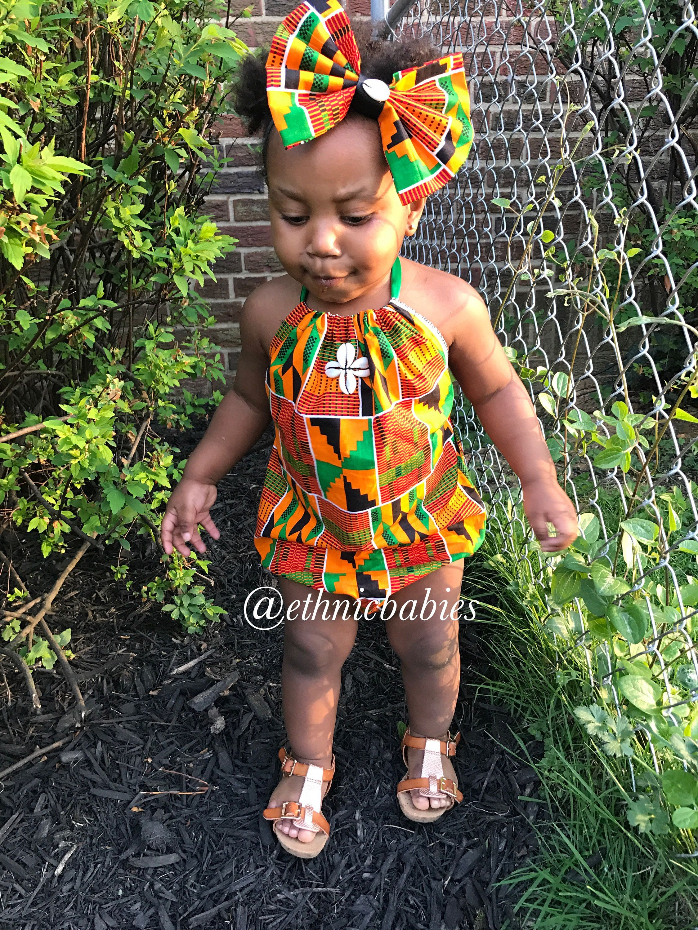 3c923a90e01a Babygirl romper and hairbow kente romper kente African babygirl clothes baby  set