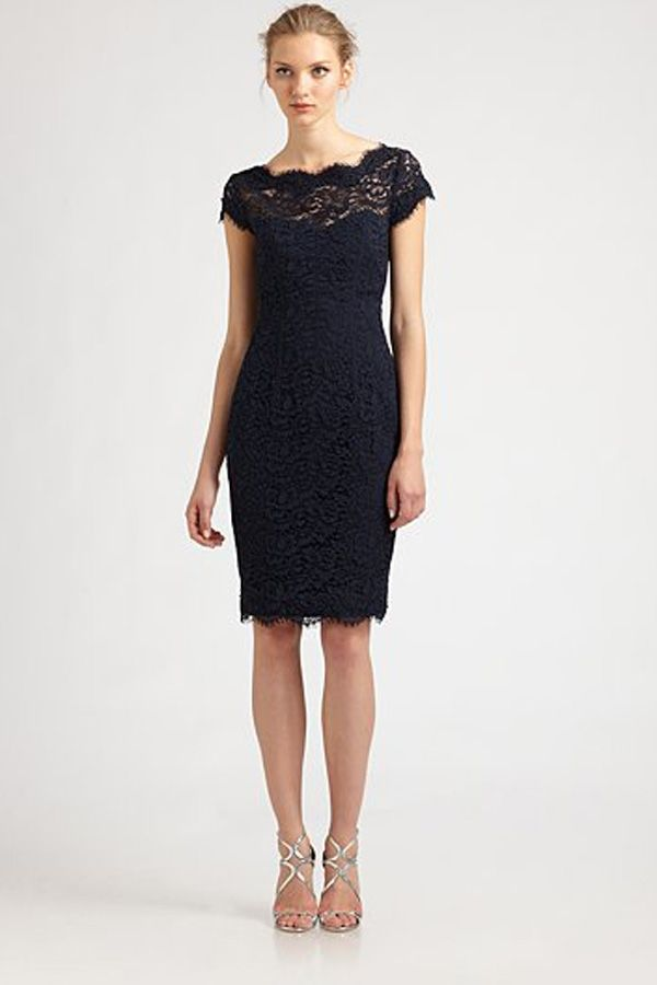 Black Lace Cocktail Dress With Cap Sleeves - Missy Dress