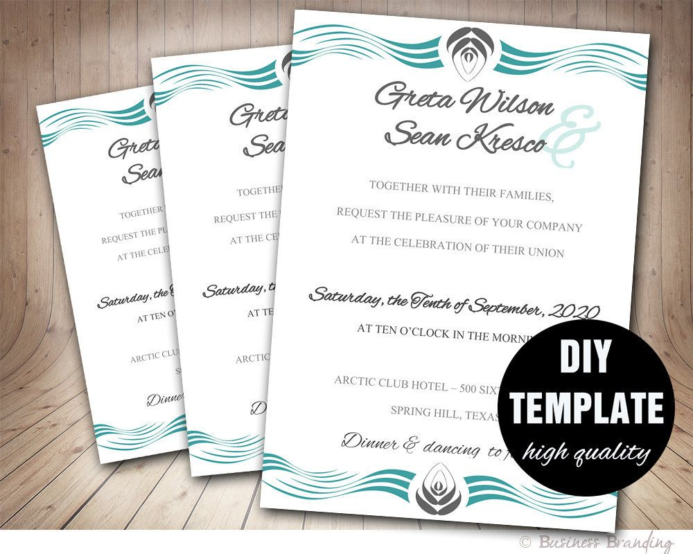 Wedding invitation templateinstant download printable wedding