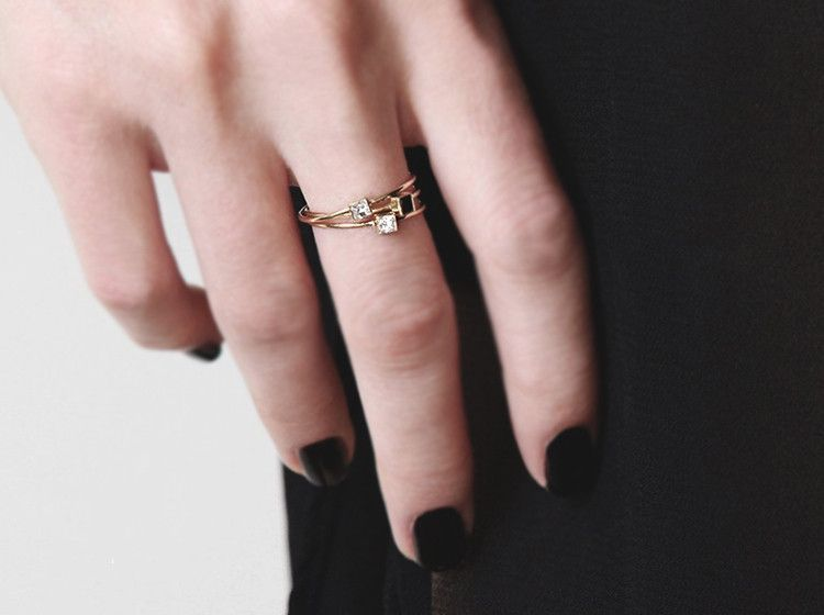 Women Girl Fashion Star Rose Gold Plated High Polished Open Ring Adjustable