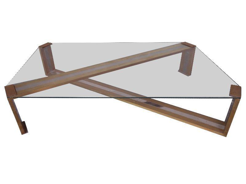 table basse design or et chrome 1970