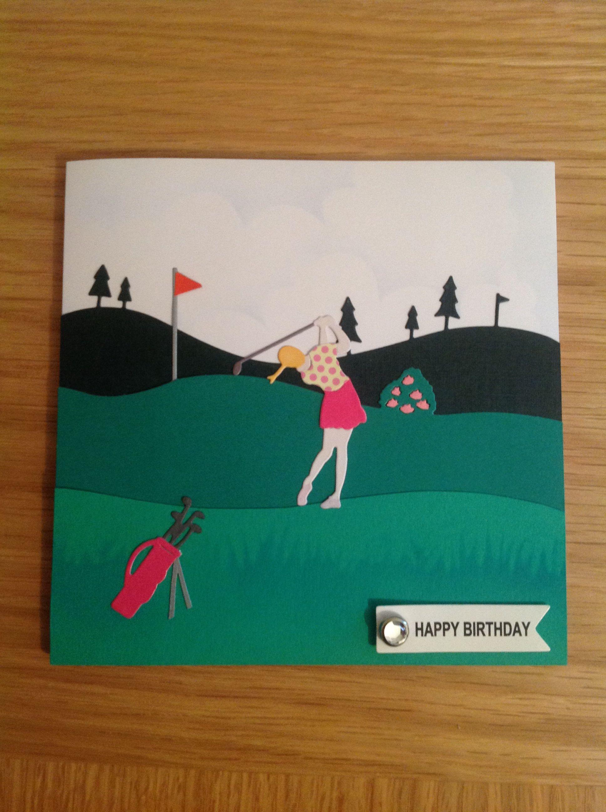 Ladies Golf Card Using Frantic Stamper And Memory Box Dies