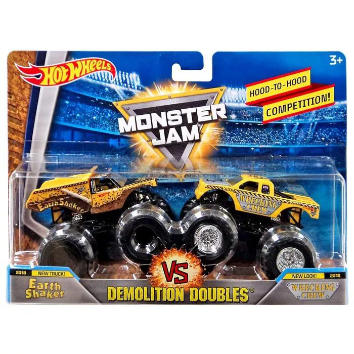 Hot Wheels Monster Jam Demolition Doubles Earth Shaker And Wrecking Crew Diecast Car 2 Pack Target Hot Wheels Monster Jam Diecast Cars Monster Jam