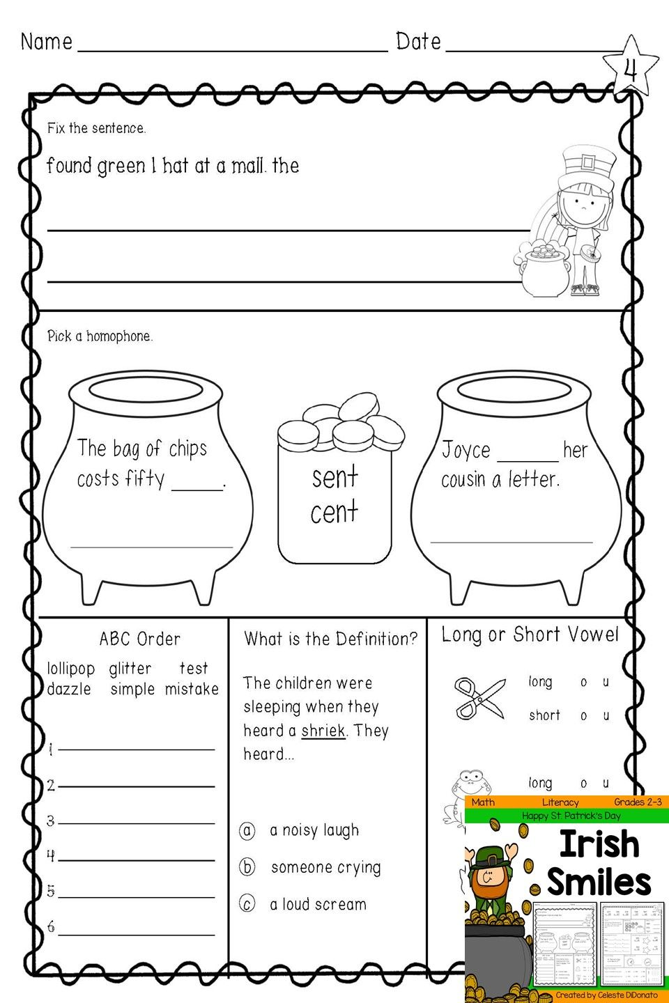 St Patrick S Day Morning Work Language Arts Fix The Sentence Homophones Abc Order Definition Long And Morning Work Language Arts Math Literacy Printables