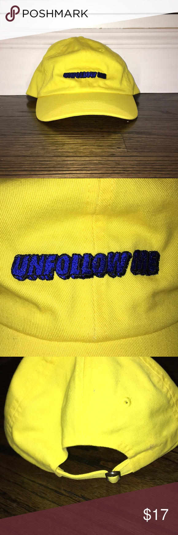 4b15896b111 Kylie Jenner Unfollow Me Yellow Bright Dad Cap Kylie Jenner hat bought from  the Kylie Jenner