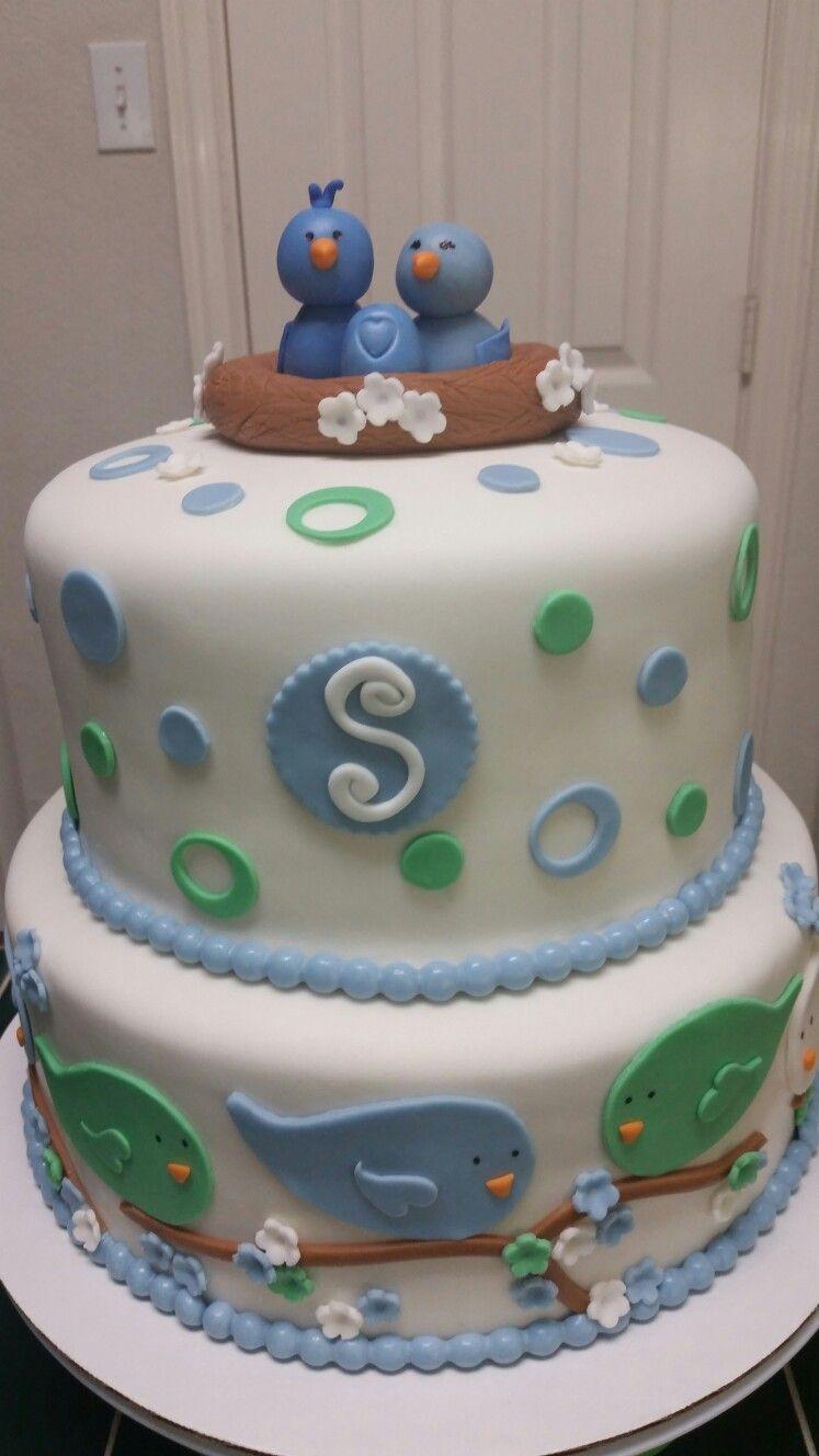 Amyu0027s Crazy Cakes   Blue Bird Baby Shower Cake