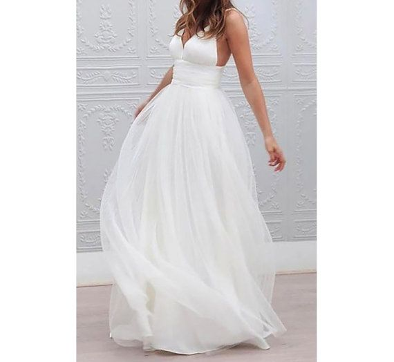 Custom made Wedding Dress Beach bridal clothes tulle | einfaches ...