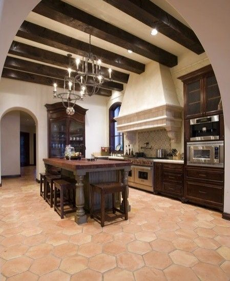 Rustic Spanish Style Sea Island House: Saltillo Tile Color....I Also Love The Island