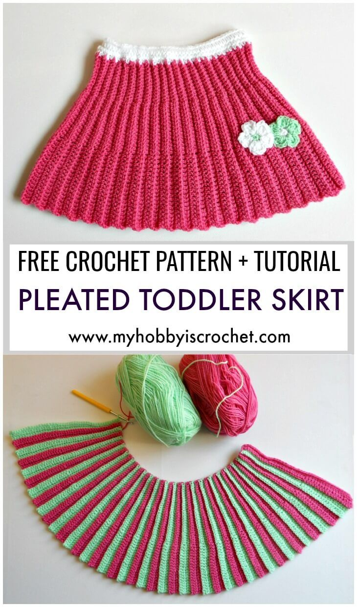 Pleated Mini Skirt Toddler Size Free Crochet Pattern