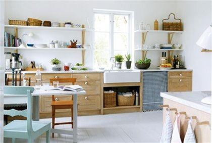fronten mit heller arbeitsflaeche blautoene offene regale kitchen pinterest k chen ideen. Black Bedroom Furniture Sets. Home Design Ideas