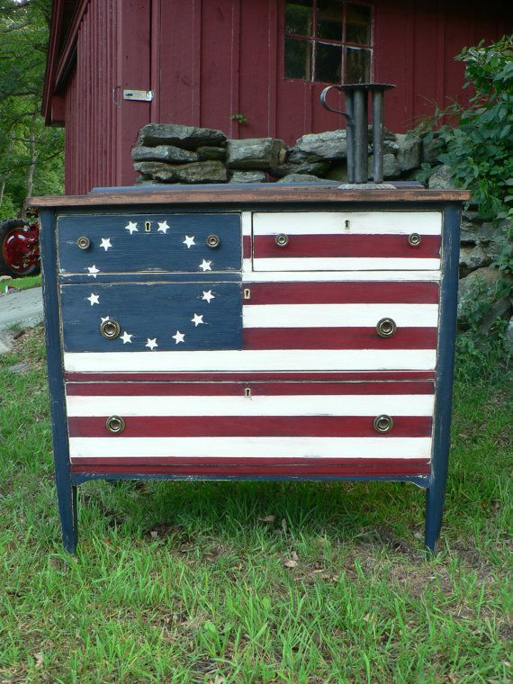 Special Order Red White Blue Betsy Ross Flag Antique Wood Dresser Rustic Clic Country Chic
