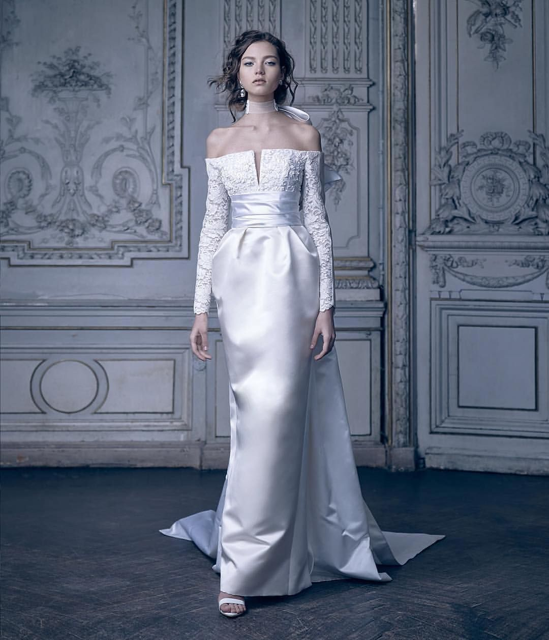 Lace and silk make this offtheshoulder gown by edem