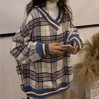 Duwnie V-Neck Plaid Sweater/ Long Sleeve Turtlenec