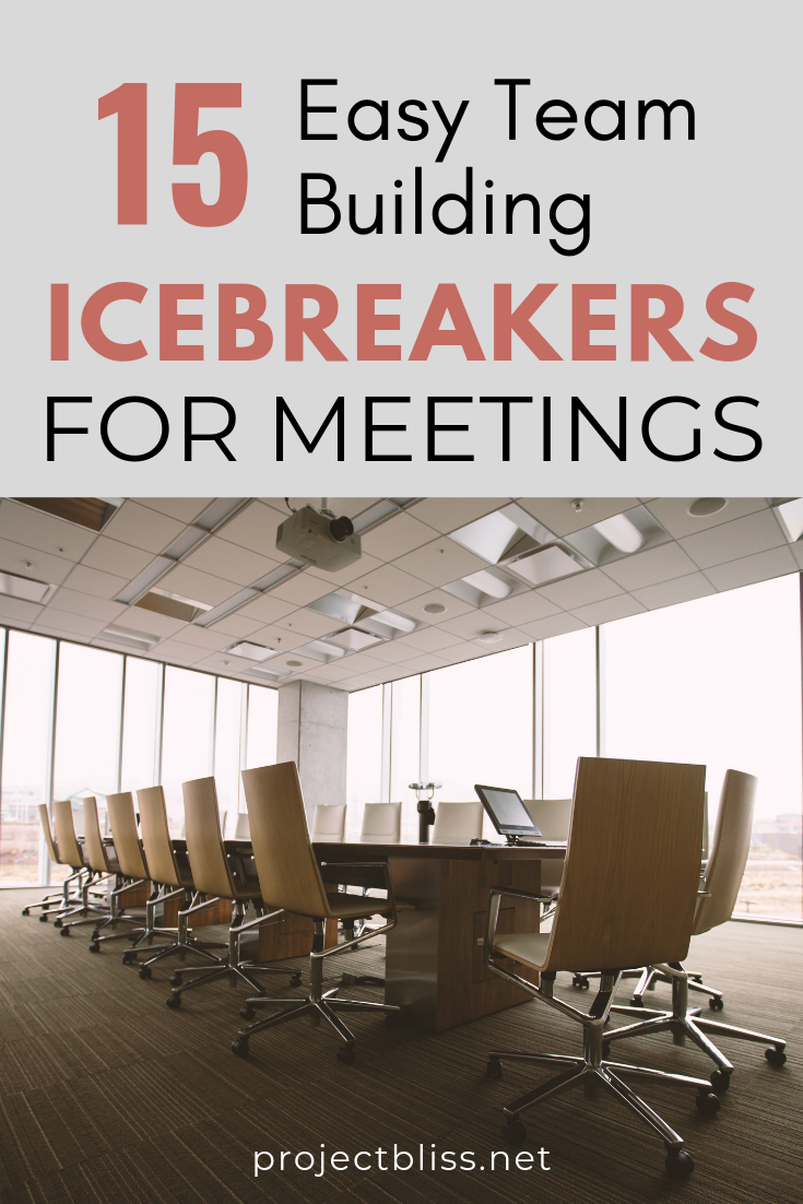 15 Easy Team Building Icebreakers For Meetings Project Bliss Work Team Building Team Building Icebreakers Quick Team Building Activities
