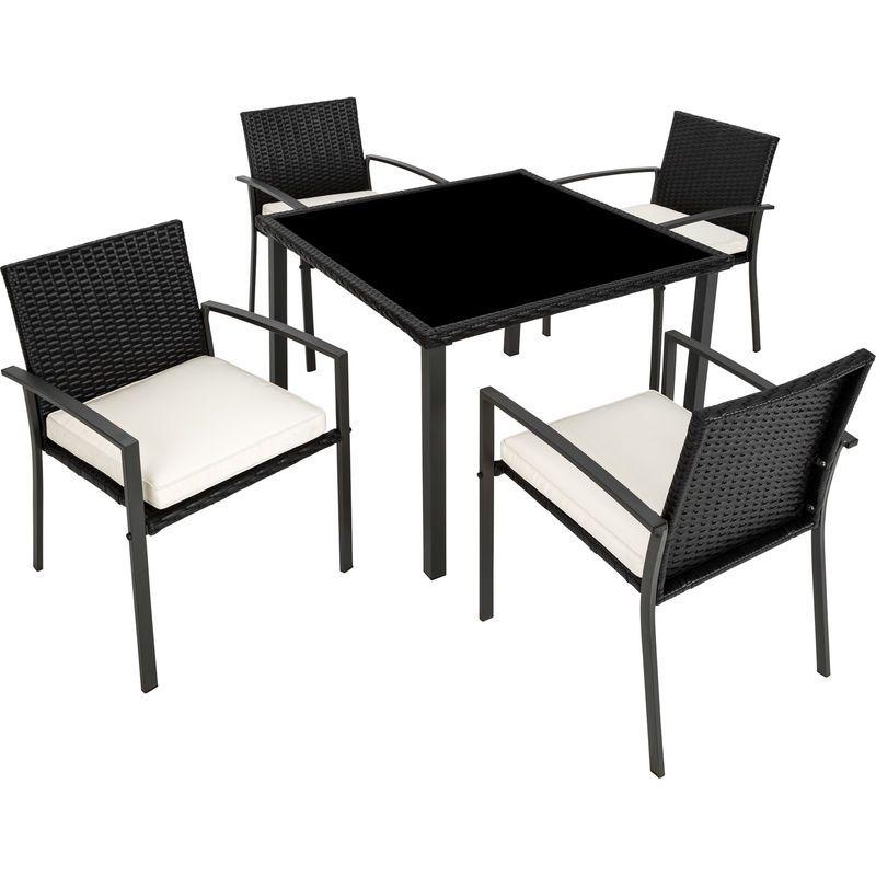 Salon De Jardin 4 Chaises Et 1 Table En Resine Tressee Noir Tectake Outdoor Chairs Decor Home Decor