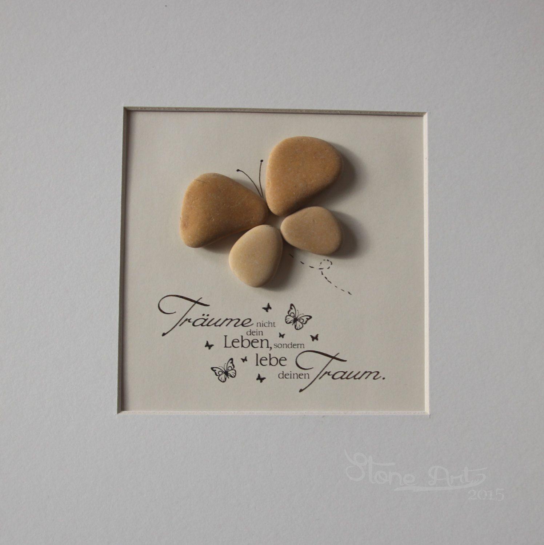 """Stein Bild  """"Träume nicht dein Leben, lebe deinen Traum"""" Kiesel Art Pebble Art Geschenk Ruhestand Geburtstag Hochzeit Verlobung von StoneArt2015 auf Etsy"""
