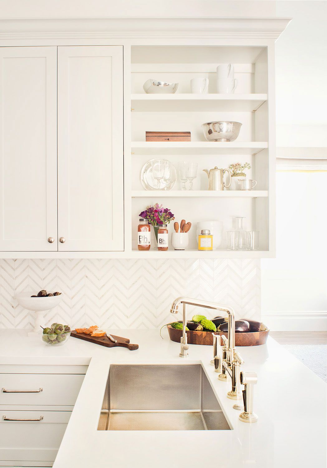 Noe Valley Kitchen | Jute Interior Design, silver footed bowl, rustic wooden bowl