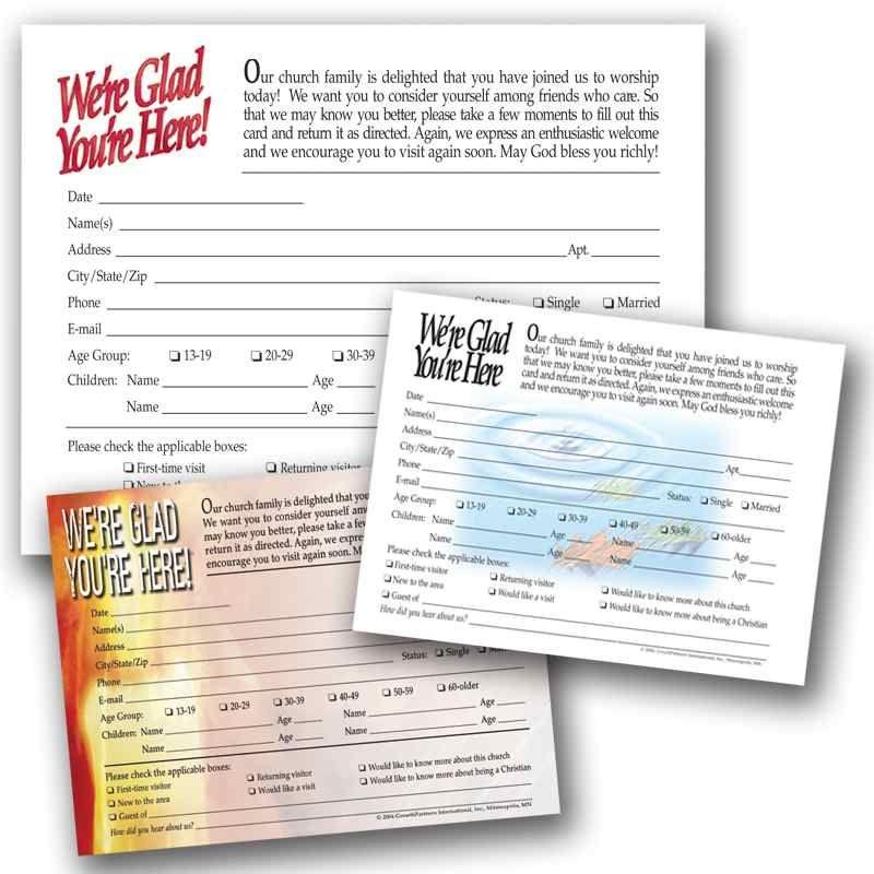 Visitor Registration Cards English Cards