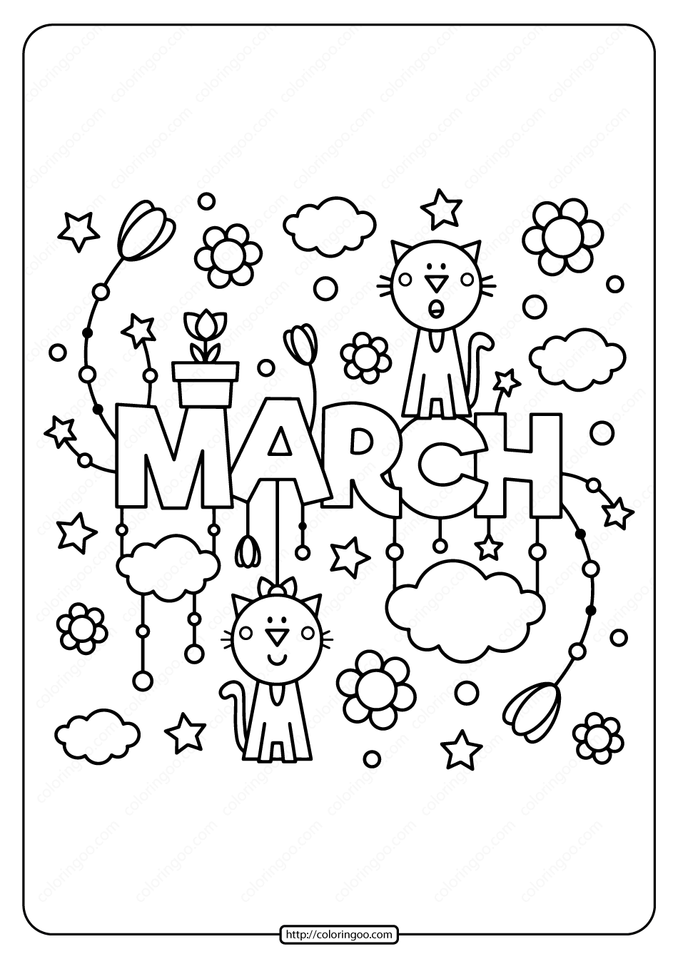 Free Printable March Pdf Coloring Page In 2020 Coloring Pages Detailed Coloring Pages Spring Coloring Pages