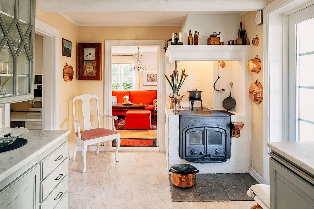 Built in Jtul wood stove in Swedish kitchen Classic and modern