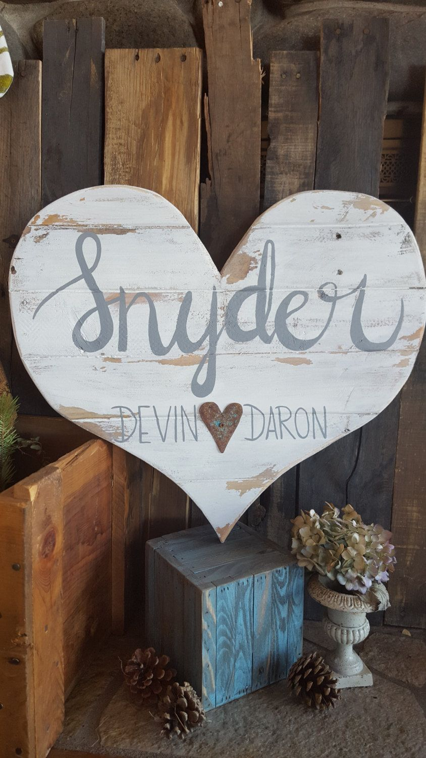 Wedding Decor Signs Cool Wood Heart Last Name Signs Heart Signs Custom Wood Signs Inspiration Design