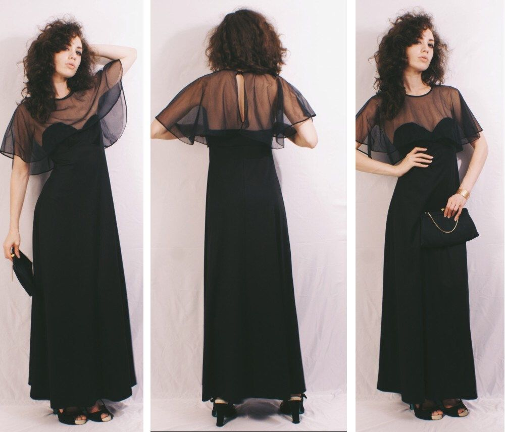 Vtg 70s does 30s Black and Nude Art Deco Goddess Capelet Maxi Dress / Evening Gown by MoveBabyVintage on Etsy https://www.etsy.com/listing/287412367/vtg-70s-does-30s-black-and-nude-art-deco