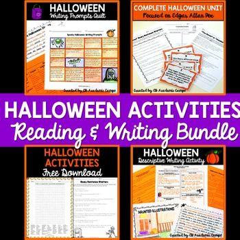 Halloween Reading  Writing Activities Bundle for Middle School - halloween writing ideas