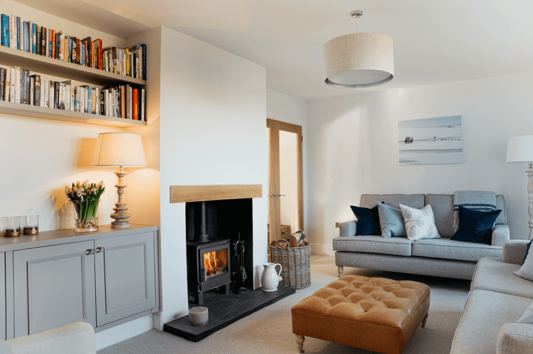 Contemporary Country Sitting Room With Log Burner Log Burner Living Room Country House Interior Contemporary Country Home