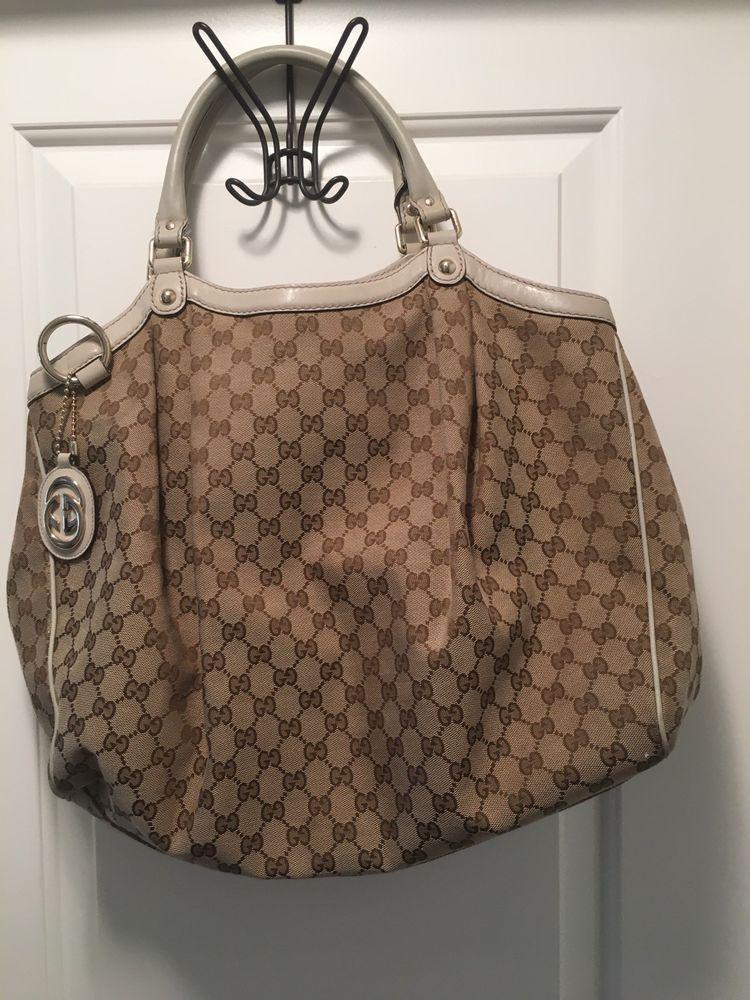 f7fe30f775b5 Preowned Authentic Gucci Sukey Large Canvas Beige Handbag | Designer ...