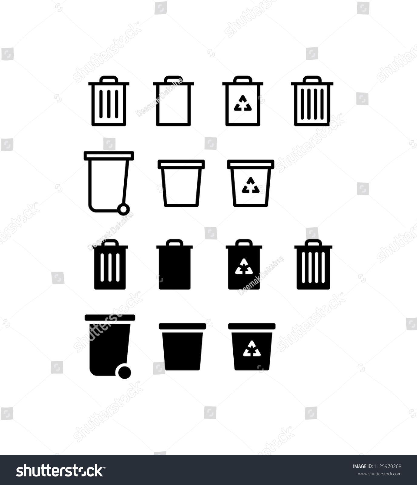 Trash Can Icon Set Trash Garbage Can Recycle Bin Rubbish Waste Container Dustbin Trashcan Junk Icon Logo Vector Sy Icon Design Rubbish Icon Set