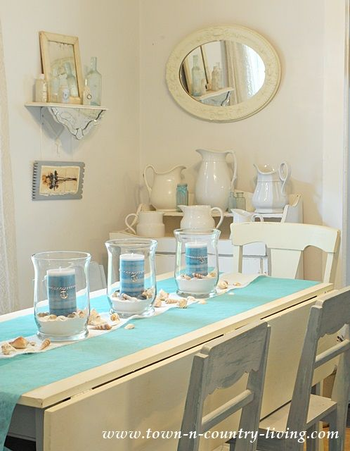 How To Create A Summer Coastal Centerpiece Town Country Living Dining Room Centerpiece Dining Room Table Centerpieces Coastal Dining Room