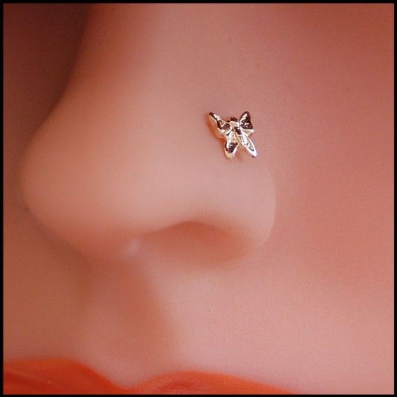 Gold Nose Stud Solid Gold Butterfly L Or Screw End