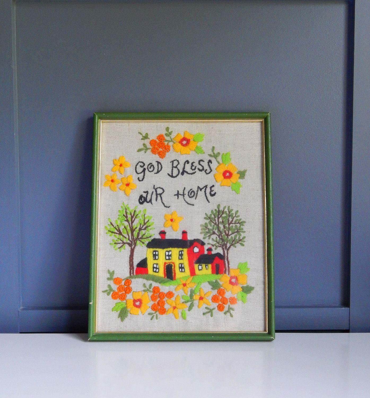 For Sale Vintage Crewel Artwork Embroidered Artwork God Bless Our