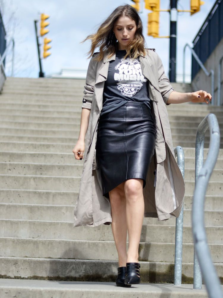 trench coat, leather pencil skirt, vintage tee, mules, ombre hair ...