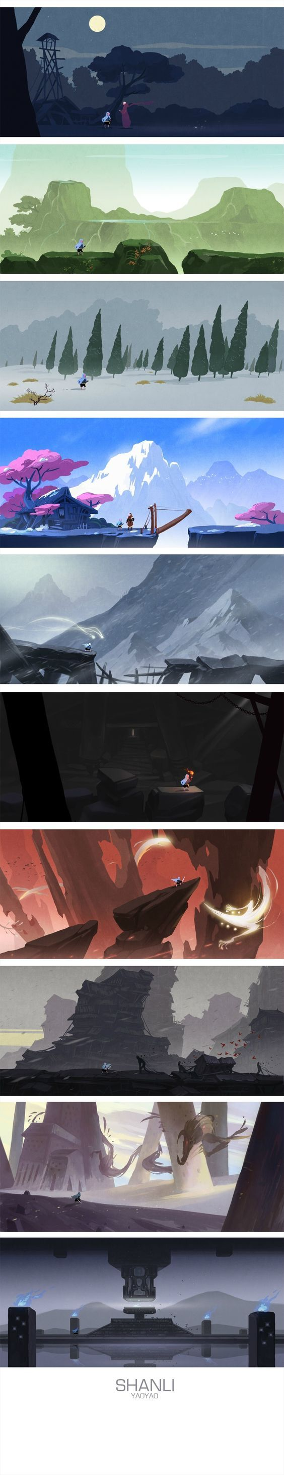 yaoyao - I don't know the game, but these environment designs are awe inspiring.