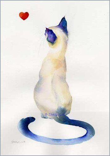 Siamese Cat Watercolor Painting By Sheila Gill We Have A Ton Of