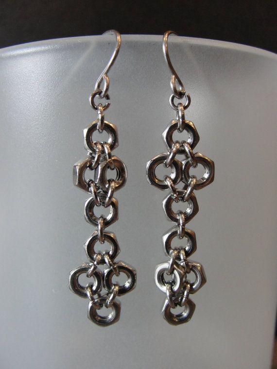 348d391174c42 Repurposed Upcycled Hex Nut Dangle Earrings, Industrial Hardware ...