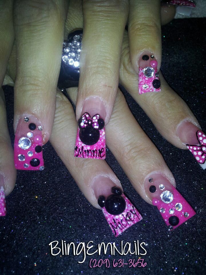 Mickey and Minnie bling | uñas acrílicas | Pinterest | Bling, Nail ...
