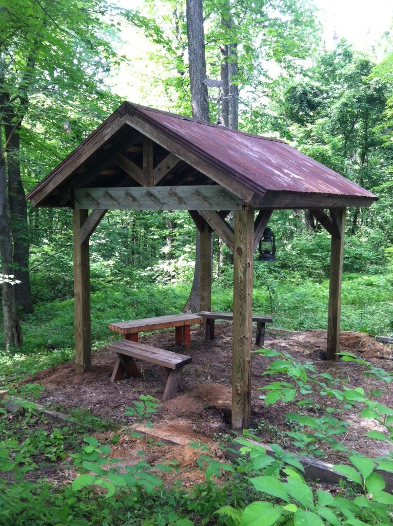 The pavilion. Tin roof. Rusted. Outdoor cover, Carport