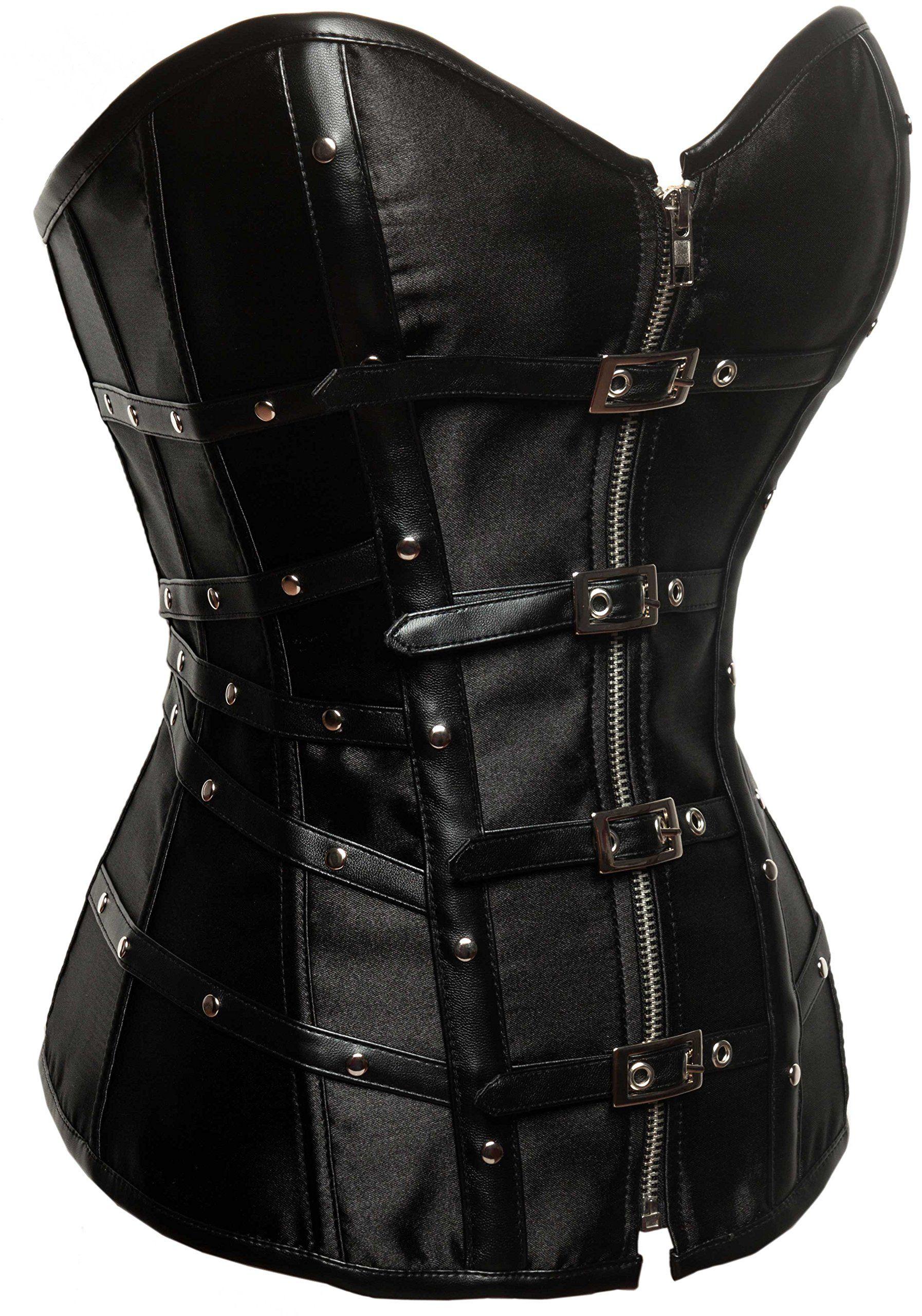 Charmian Lucea Womens Gothic Punk Steampunk Satin Lace Up Long Corset Dress