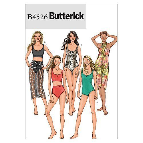Butterick Patterns b4526 Schnittmuster Badeanzug und Wrap, Größe AA ...