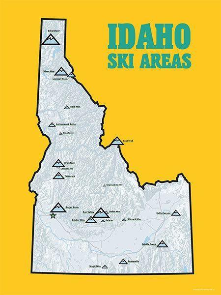 Worksheet. Idaho Ski Resorts Map 18x24 Poster  Idaho and Resorts