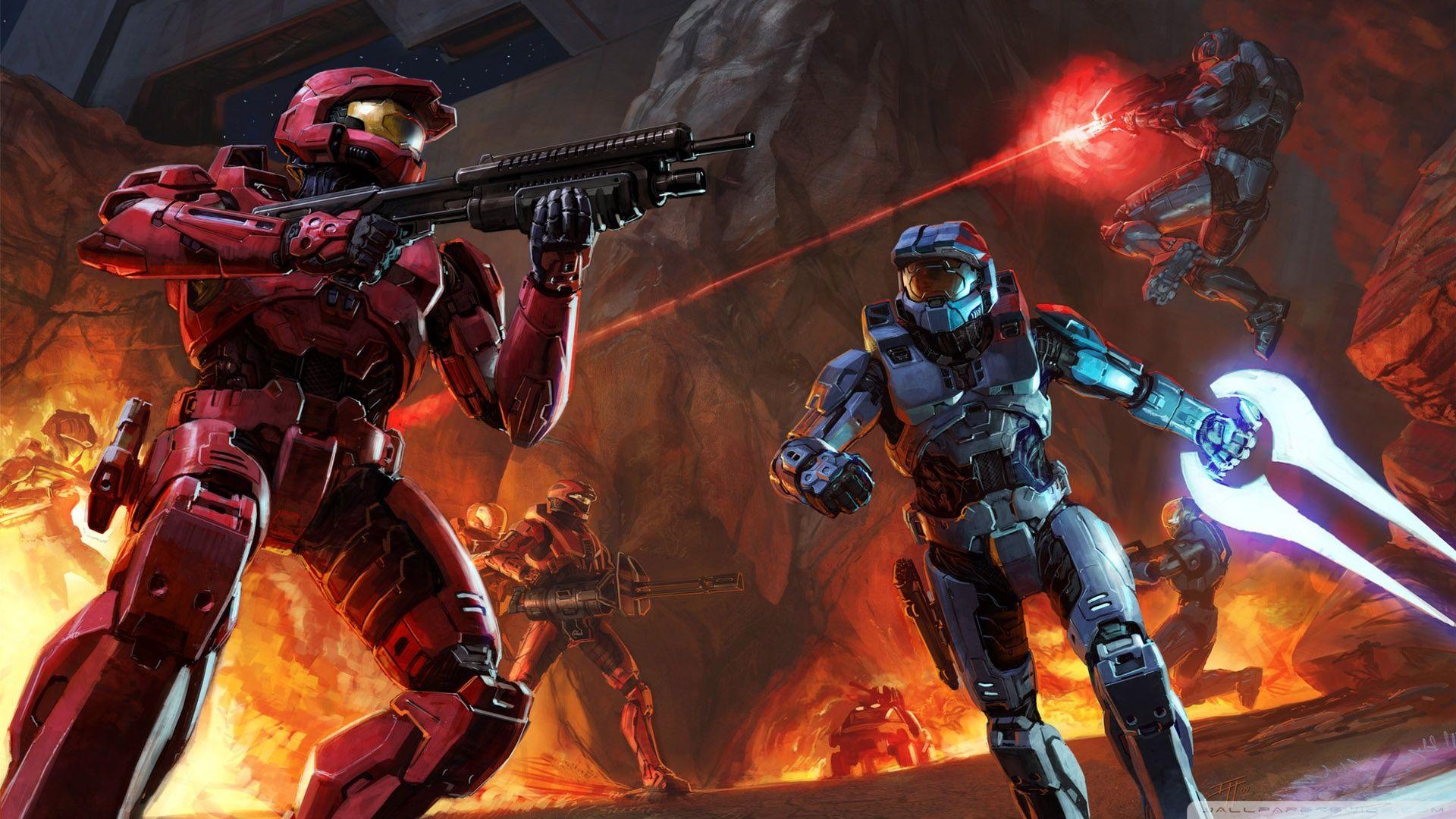 Halo 3 Multiplayer Concept Art 1920x1080 Halo 3 Red Vs Blue Halo