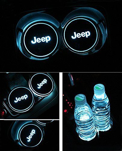 Auto sport 2PCS LED Cup Holder Mat Pad Coaster with USB Rechargeable Interior Decoration Light (Jeep