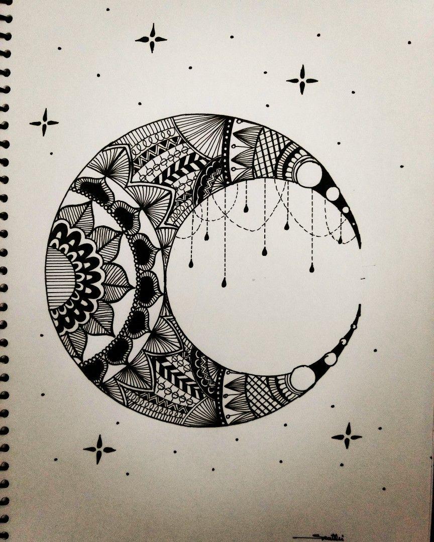 Day 11 Of Inktober 2017 Zentangle Moon Art Pad Doodle